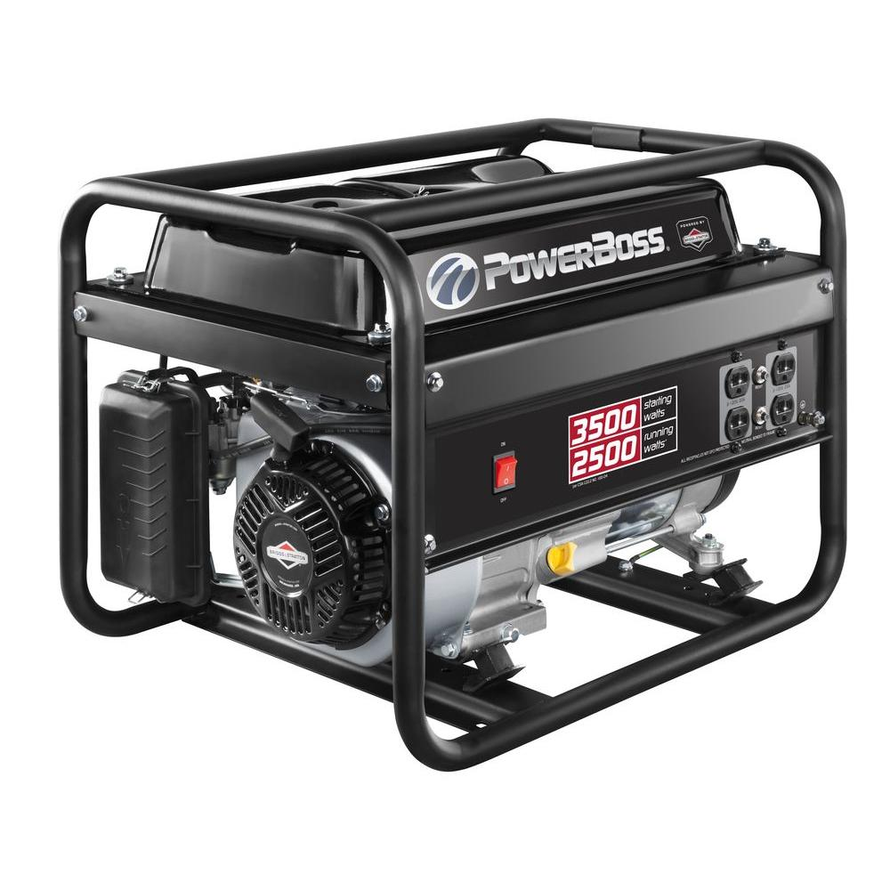 Powerboss 2500 Watt Gasoline Powered Recoil Start Portable 2500w Phase Control Generator With Briggs Stratton Engine