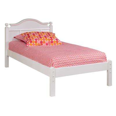 Emma White Twin Bed with Low Headboard and Framed Footboard