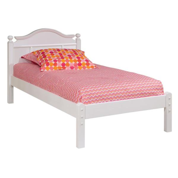 Emma White Twin Bed with Low Headboard and Framed Footboard 9881500LF