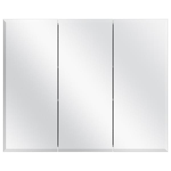36-3/8 in. W x 30-3/16 in. H Frameless Surface-Mount Tri-View Bathroom Medicine Cabinet