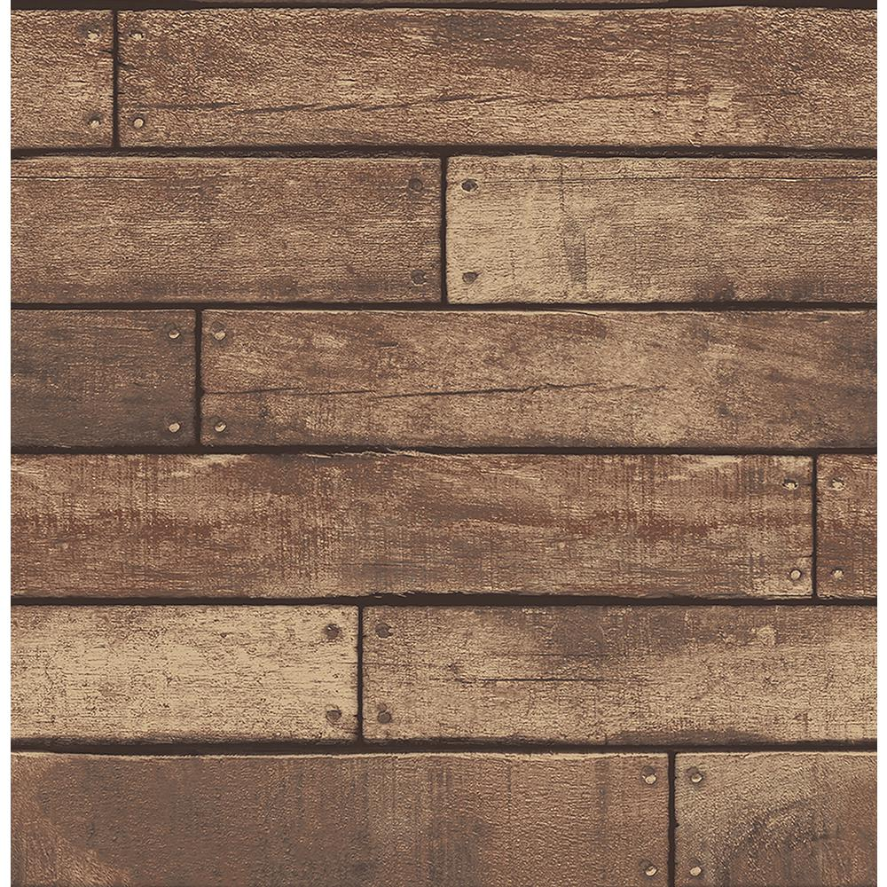 brewster weathered brown nailhead plank wallpaper sample