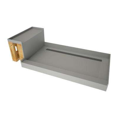 34 in. x 60 in. Single Threshold Shower Base in Gray and Bench Kit with Back Drain and Brushed Nickel Trench Grate