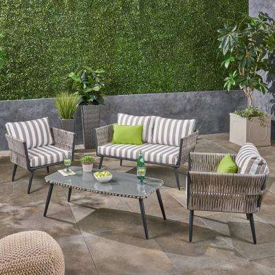 Oceanus Black Aluminum and Light Gray Wicker 4-Piece Patio Conversation Set with Striped Gray and White Cushions
