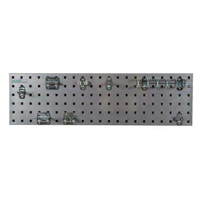 31.5 in. x 9 in. Steel Square Hole Pegboard Strip Set in Silver and LocHook Assortment (8-Piece)