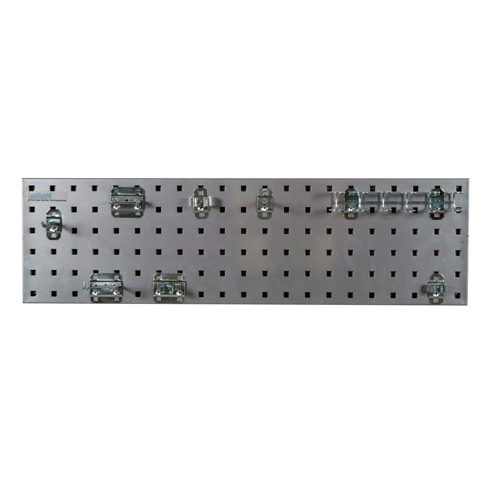LocBoard 31.5 in. x 9 in. Steel Square Hole Pegboard Strip Set in Silver and LocHook Assortment (8-Piece)