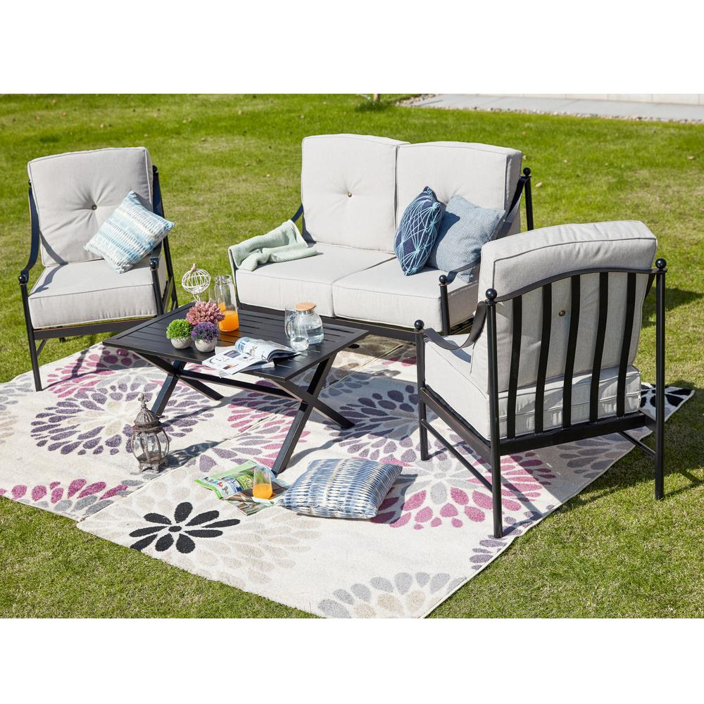 Patio Festival 4-Piece Metal Patio Deep Seating Set with Beige Cushions