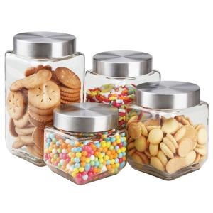 4-Piece Glass Canister Set with Stainless Steel Lids