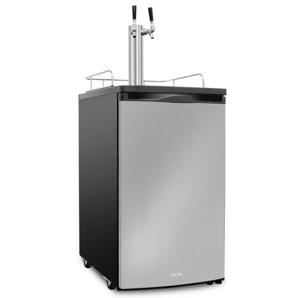 Ivation 4 9 Cu Ft 20 In Dual Tap Stainless Steel Beer Kegerator Ivbkadt491sswh The Home Depot