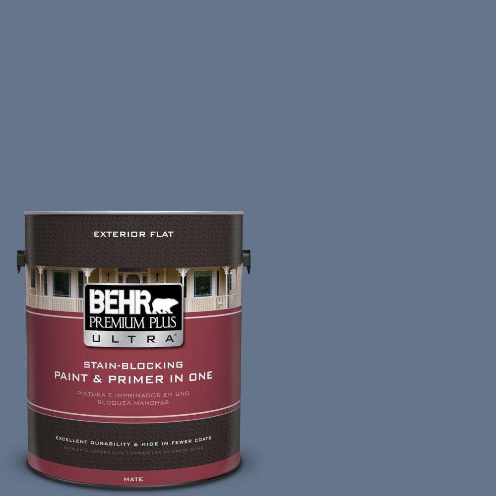 BEHR Premium Plus Ultra 1-gal. #BXC-75 Saltbox Blue Flat Exterior Paint
