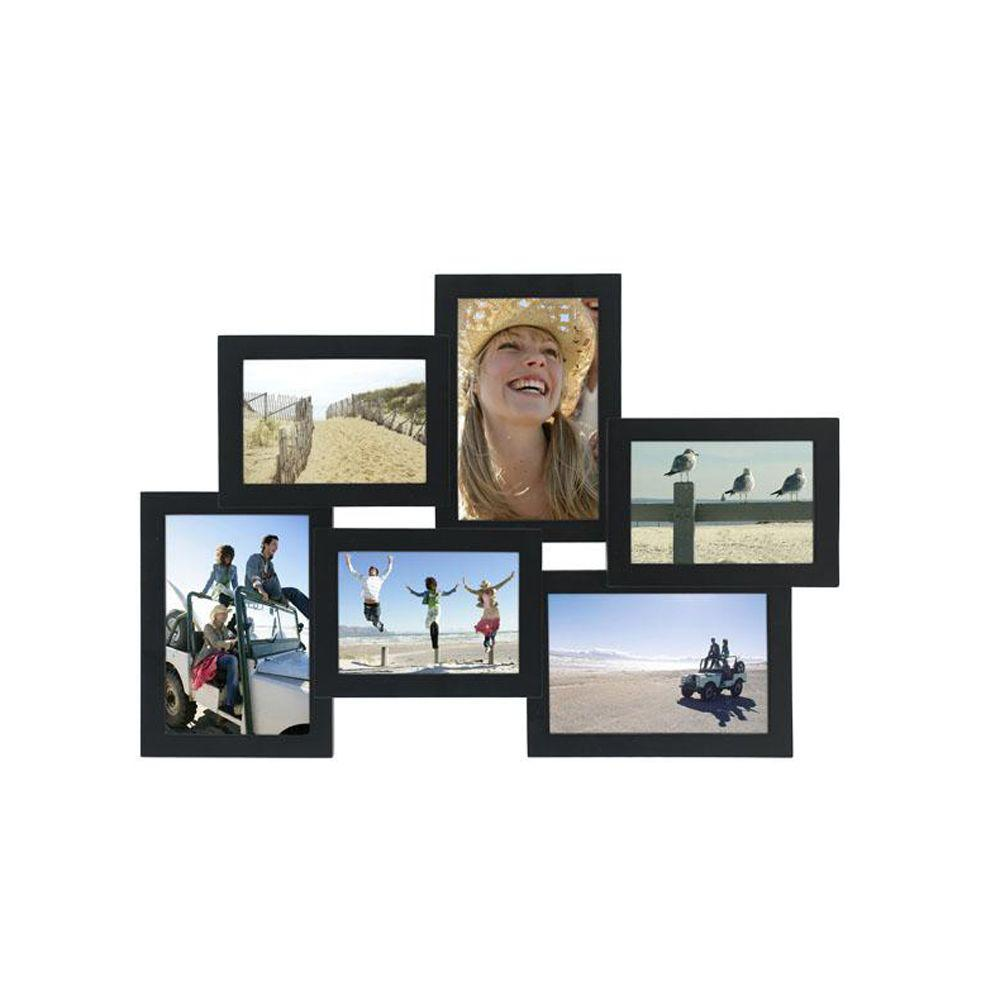 Home Decorators Collection 18 in. x 12 in. 6-Opening Black Collage Picture Frame