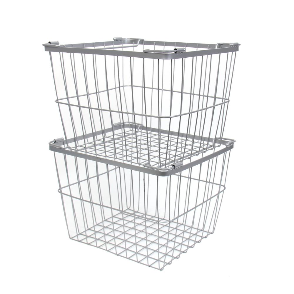 12 in. W x 10.5 in. D x 8.5 in. H Silver Wire Utility Basket with ...