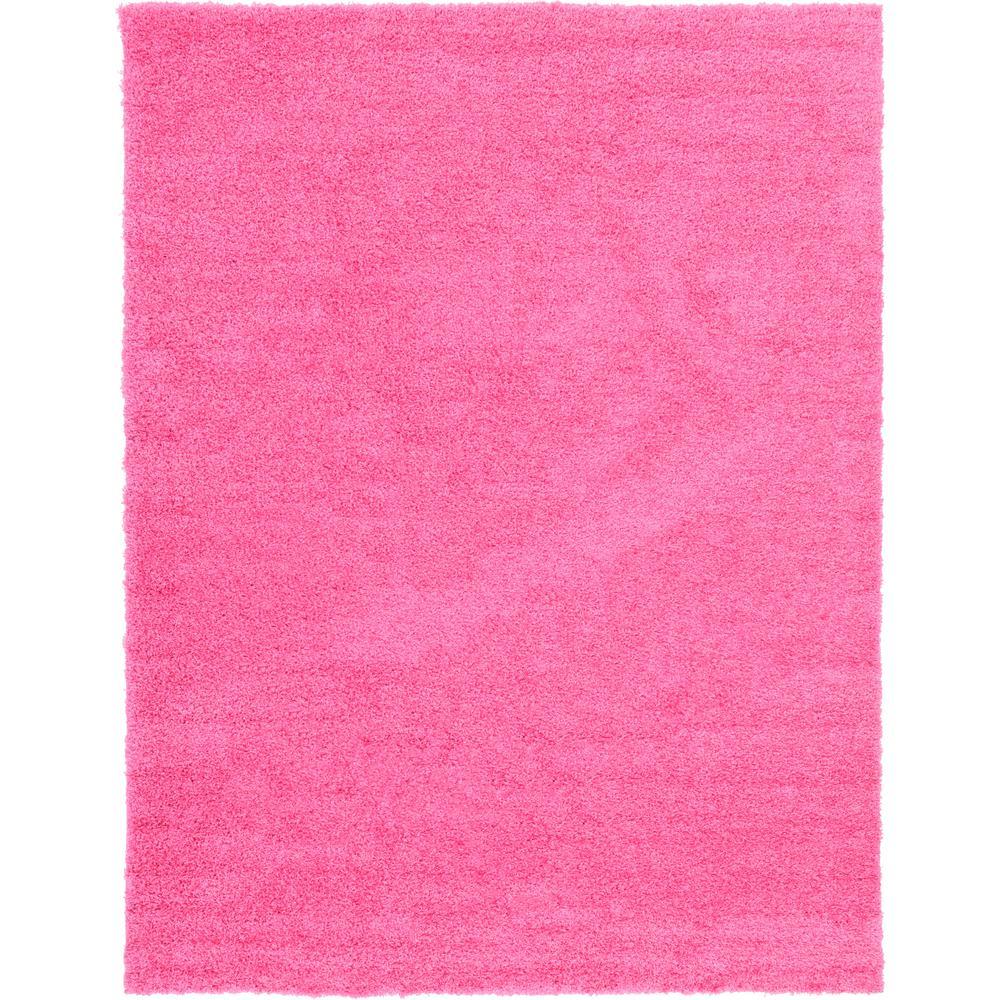 Unique Loom Solid Shag Taffy Pink 9 X 12 Rug 3127926