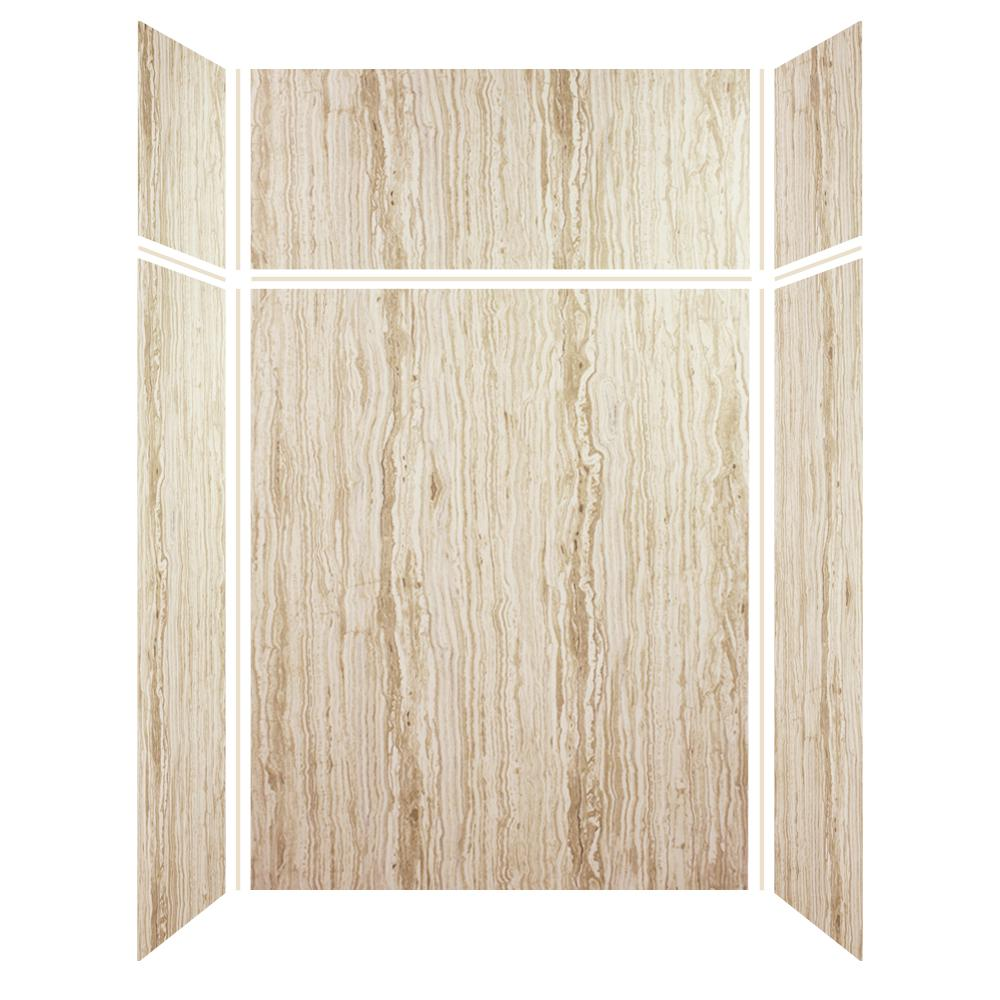 Transolid Expressions 36 in. x 60 in. x 96 in. 4-Piece Easy Up Adhesive Alcove Shower Wall Surround in Sorento