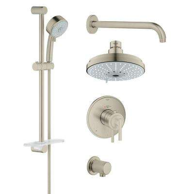 GrohFlex Timeless 4-Spray Hand Shower and Shower Head Combo Kit in Brushed Nickel InfinityFinish