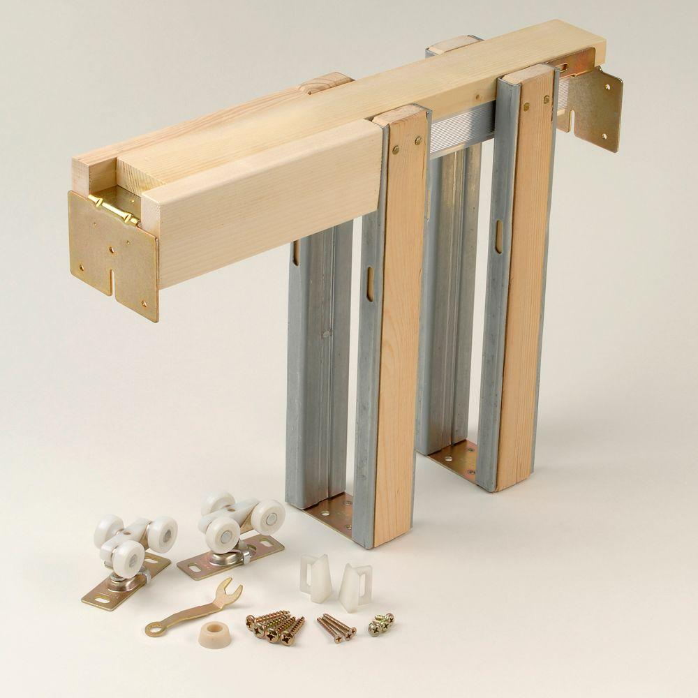 Johnson Hardware 1500 Series Universal Pocket Door Frame for 80 in. Doors Customizable 24 in. to 36 in.