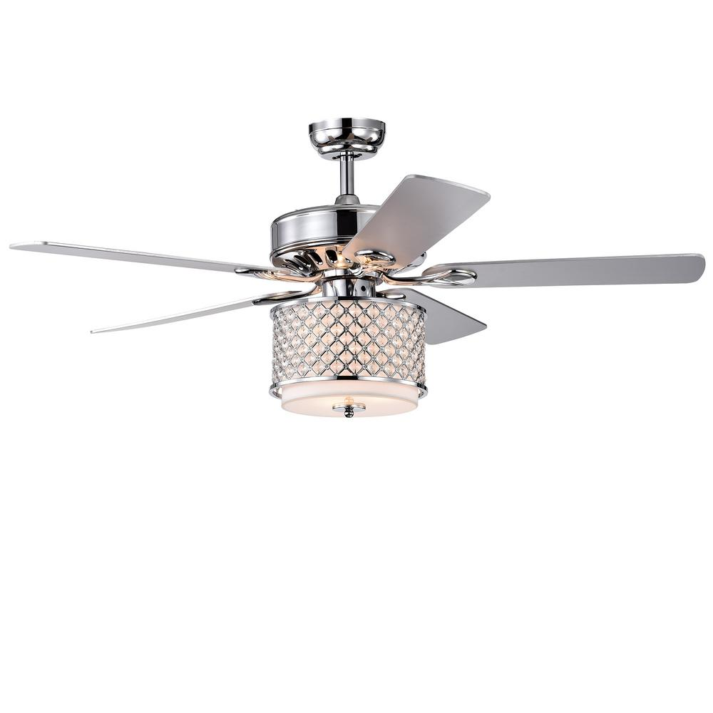 Warehouse of Tiffany Shelee 52 in. Indoor Chrome Remote Controlled Ceiling Fan with Light Kit