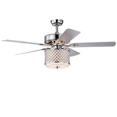 Shelee 52 in. Indoor Chrome Remote Controlled Ceiling Fan with Light Kit