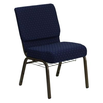 Navy Blue Dot Patterned Fabric/Gold Vein Frame Stack Chair