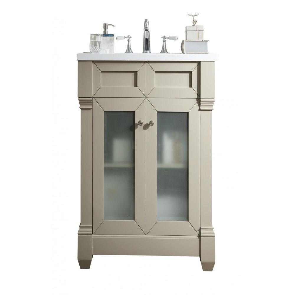 James Martin Signature Vanities Weston Single Vanity Sea Gull Quartz Vanity Top White Basin Photo