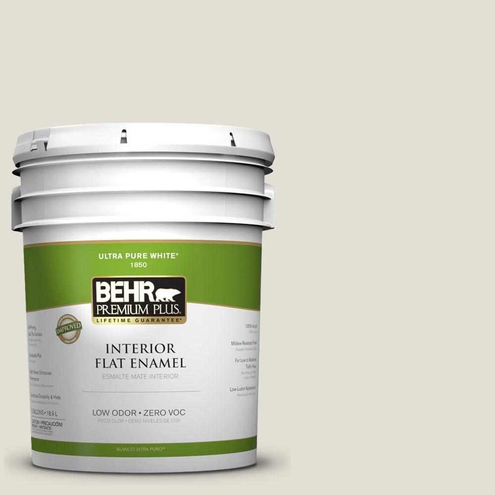 BEHR Premium Plus 5-gal. #ECC-25-2 Echo Valley Zero VOC Flat Enamel Interior Paint-DISCONTINUED