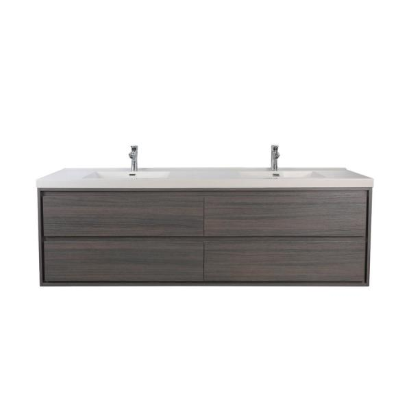 Sage 72 in. W Vanity in Gray Oak with Reinforced Acrylic Vanity Top in White with White Basins