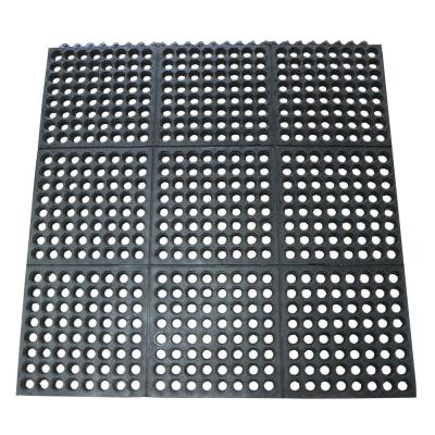 Dura-Chef Commercial Interlock - Black - 1/2 in. x 36 in. x 36 in. - Rubber Anti-Fatigue Mat (Pack of 4)