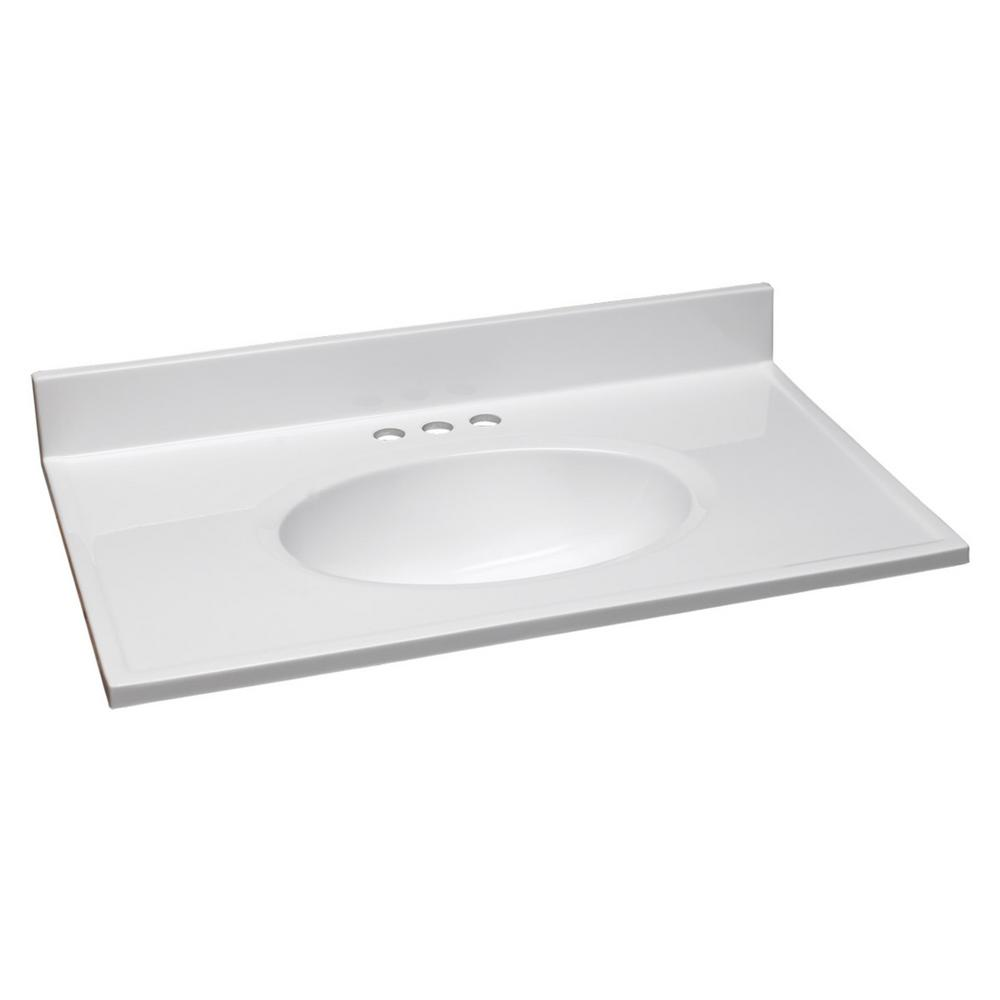 31 in. Cultured Marble Vanity Top in Solid White with Basin