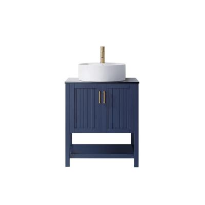Modena 28 in. Vanity in Blue with Tempered Glass Top in Black with White Vessel Sink