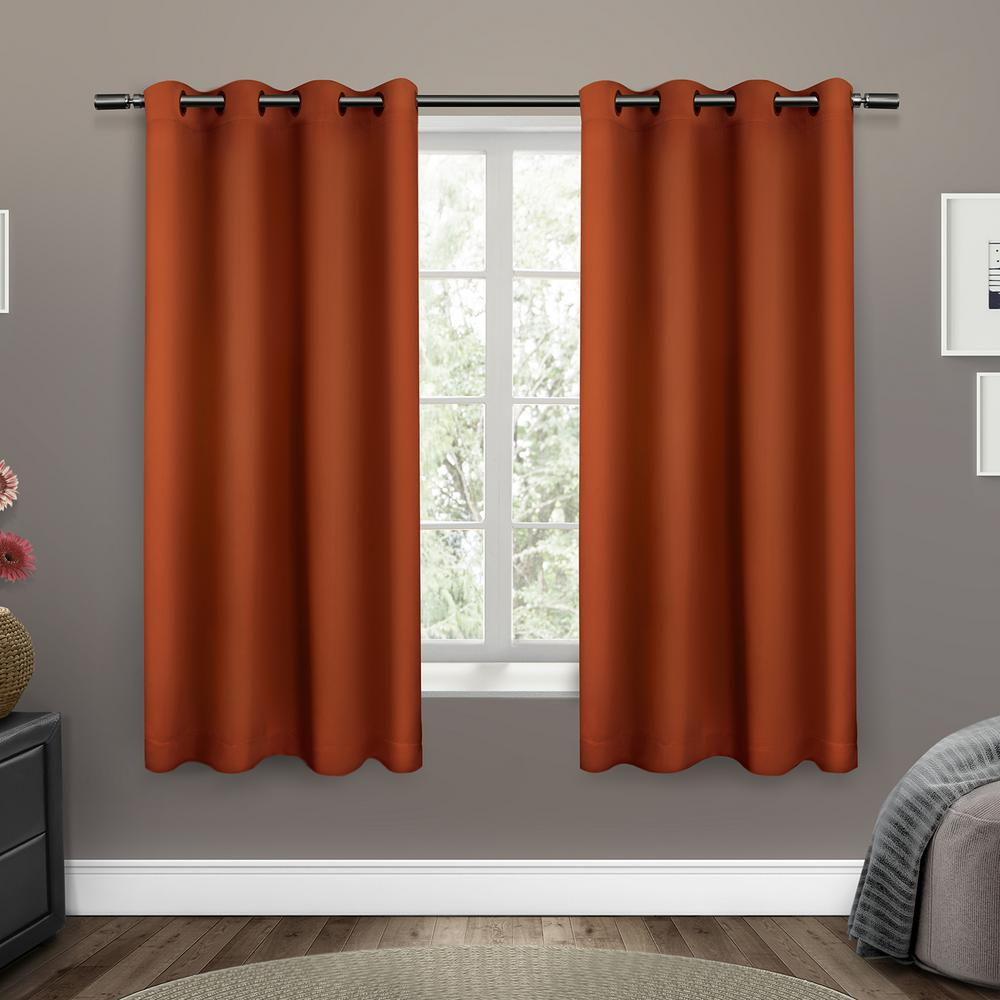 Sateen 52 in. W x 63 in. L Woven Blackout Grommet Top Curtain Panel in Mecca Orange (2 Panels)