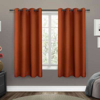 Sateen 52 in. W x 63 in. L Woven Blackout Grommet Top Curtain Panel in Mecca Orange (2 Panels)