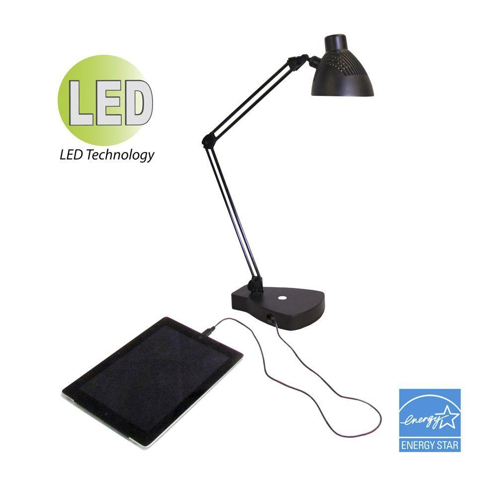 HomeSelects 22 in. Graphite LED Swing Arm Task Lamp