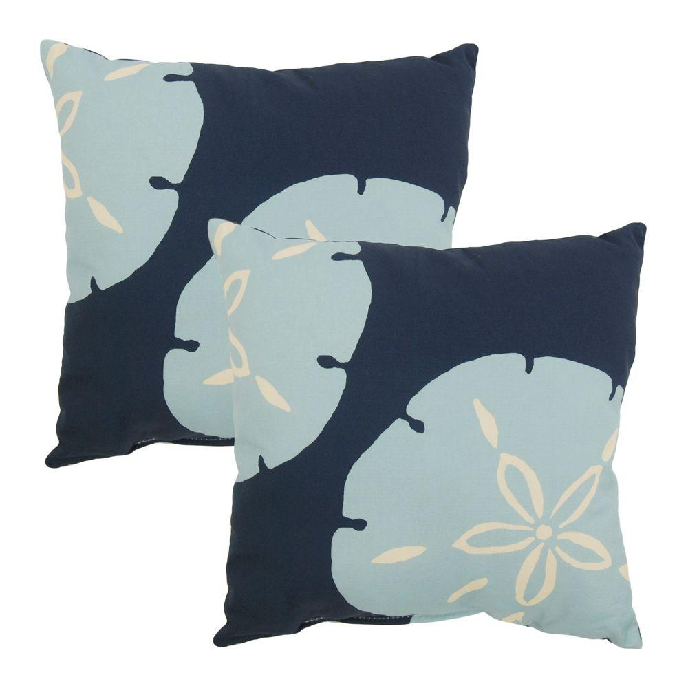 Hampton Bay Sand Dollar Outdoor Throw Pillow (2-Pack)