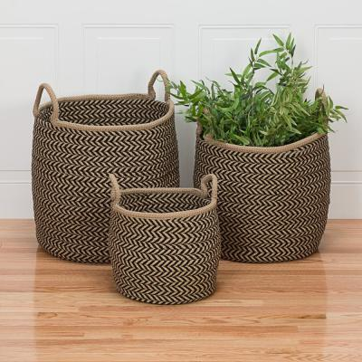 Preve 12 in. x 12 in. x 12 in. Taupe and Black Round Polypropylene Braided Basket