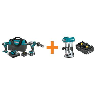 18V LXT Brushless 2-Pc Combo Kit with Bonus 18V LXT 5.0 Ah Battery (2/Pk) and 18V LXT Brushless Cordless compact Router