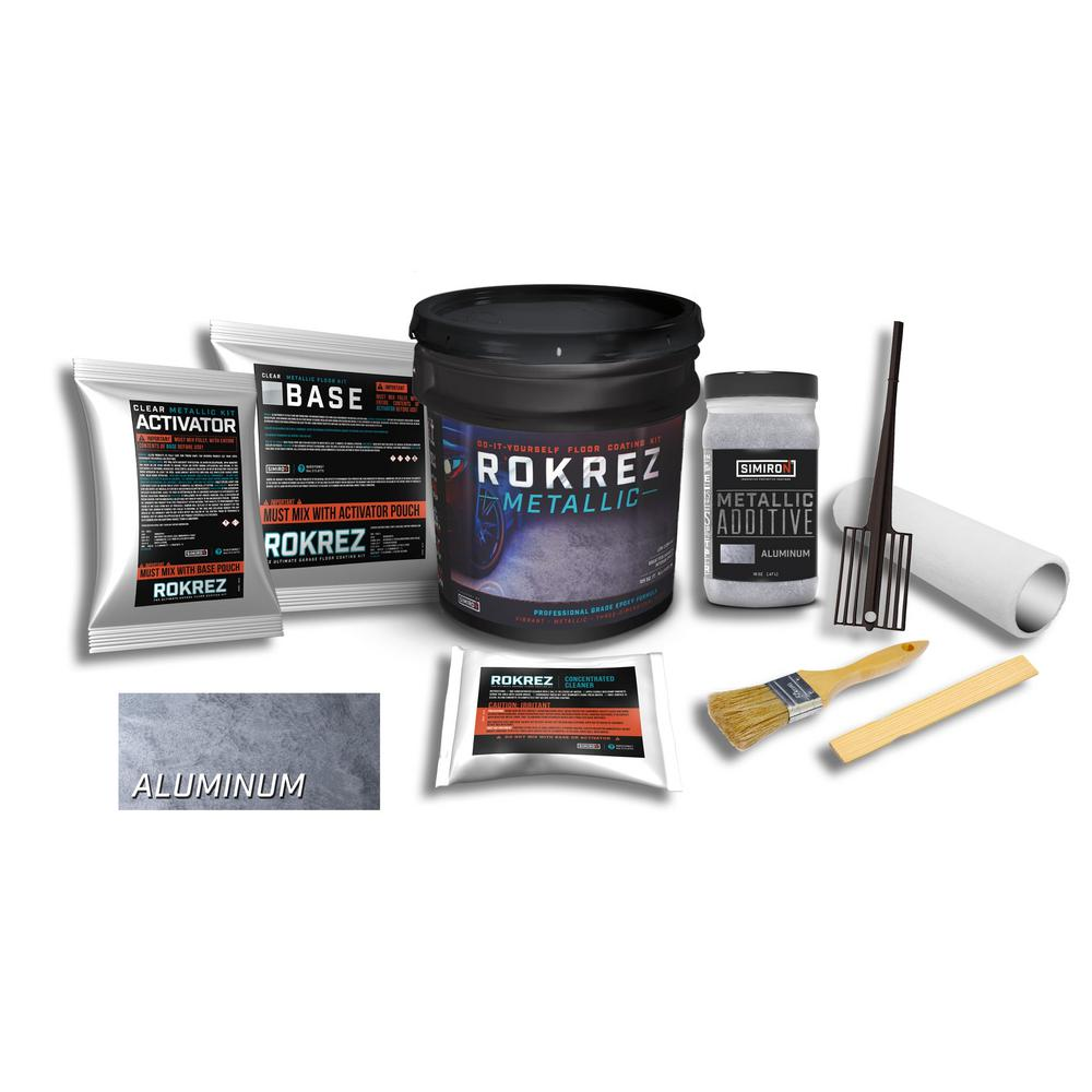 SIMIRON ROKREZ 128 oz. Aluminum Gloss 125 sq. ft. Metallic DIY 2 Component 100% Solids All-In-One Epoxy Garage Floor Kit