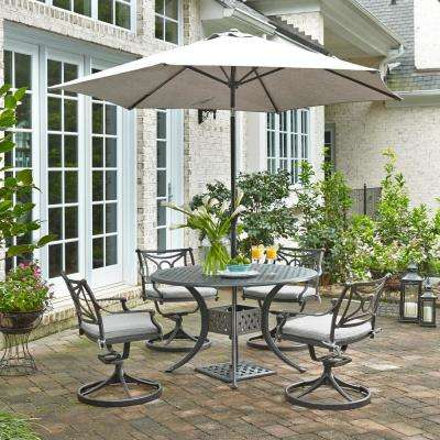 La Jolla Cast Gray 5-Piece Aluminum Round Outdoor Dining Set with Gray Cushions and Umbrella and Base