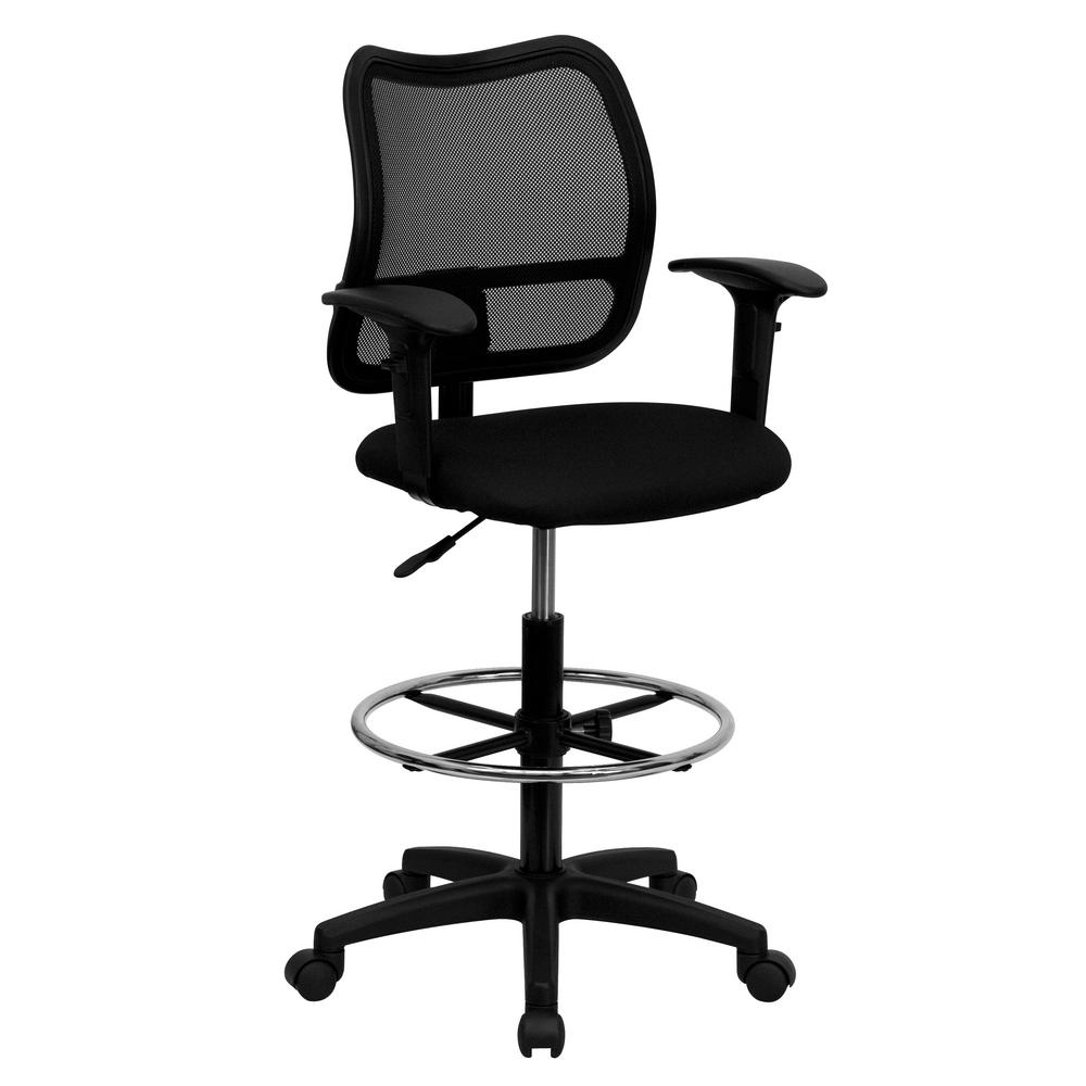 Bon Flash Furniture Mid Back Mesh Drafting Chair With Black Fabric Seat And  Height Adjustable Arms
