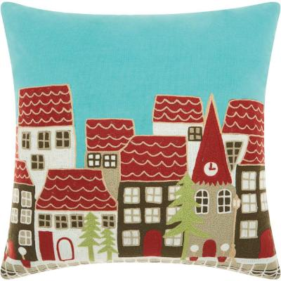 Home For The Holiday Village Multicolored Graphic Polyester 18 in. x 18 in. Throw Pillow
