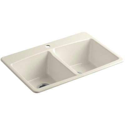 Brookfield Drop-In Cast-Iron 33 in. 1-Hole Double Bowl Kitchen Sink in Almond