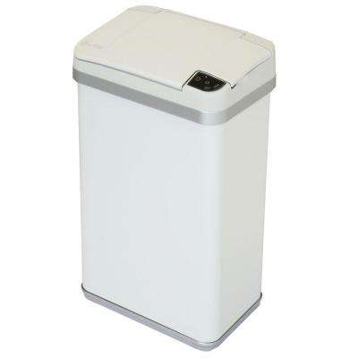 4 Gal. Matte Pearl White Touchless Multifunction Sensor Trash Can with Deodorizing Carbon Filter Technology