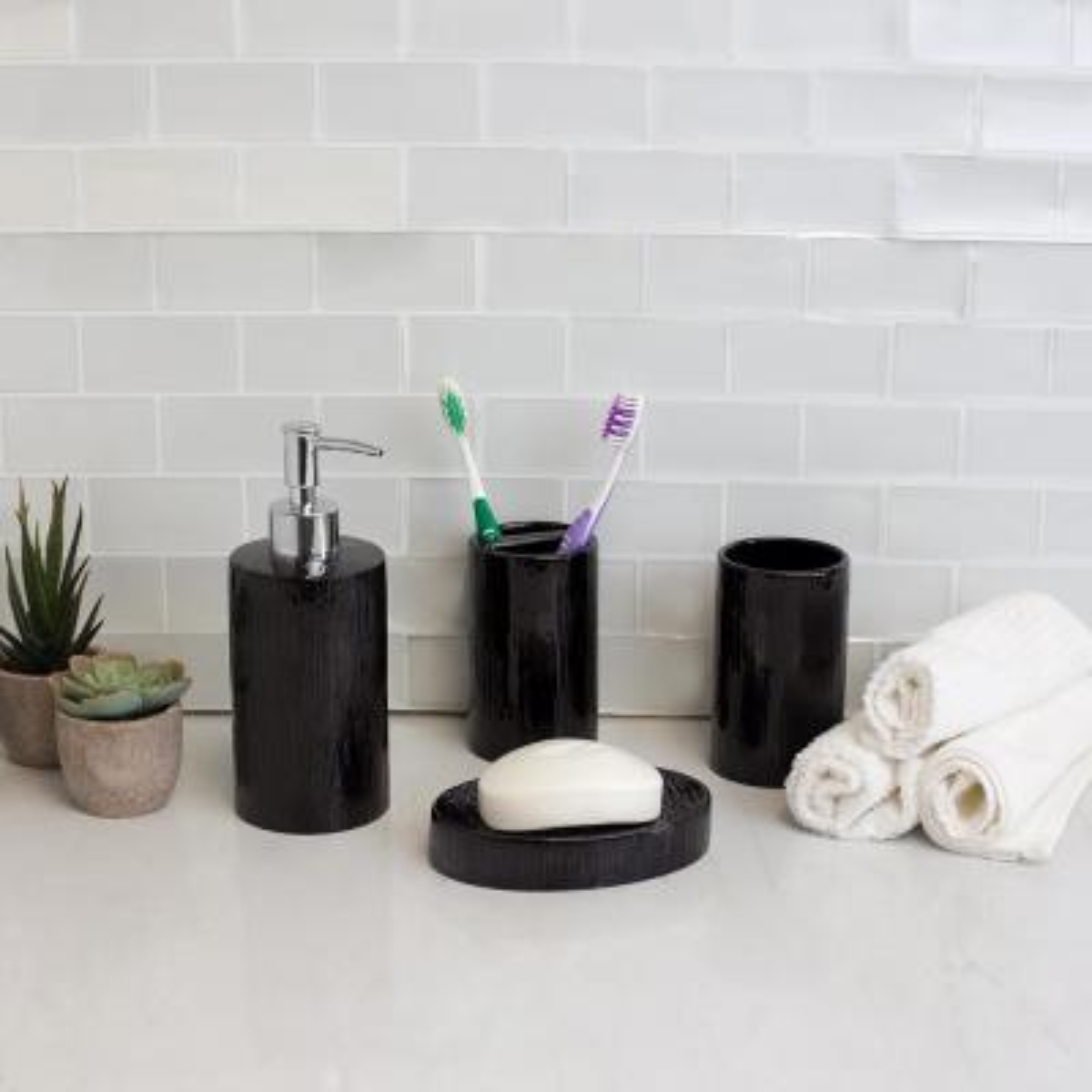 High Gloss Textured Ceramic Modern 4-Piece Bath Accessory Set in Black