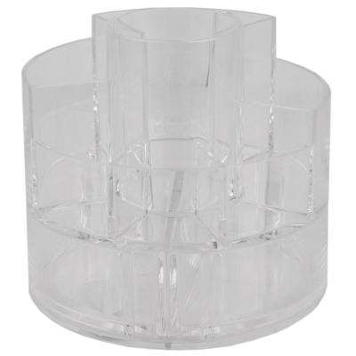 Round Shatter-Resistant 5-Compartment Plastic Compact Cosmetic Organizer in Clear