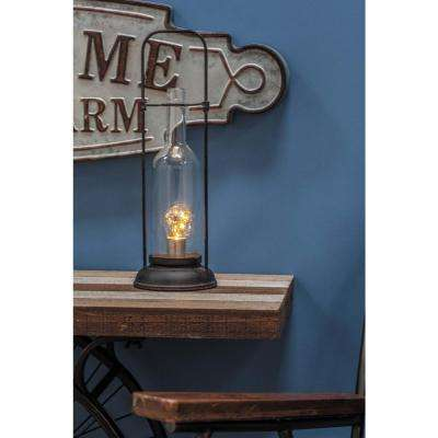 15 in. Black Metal LED Lantern