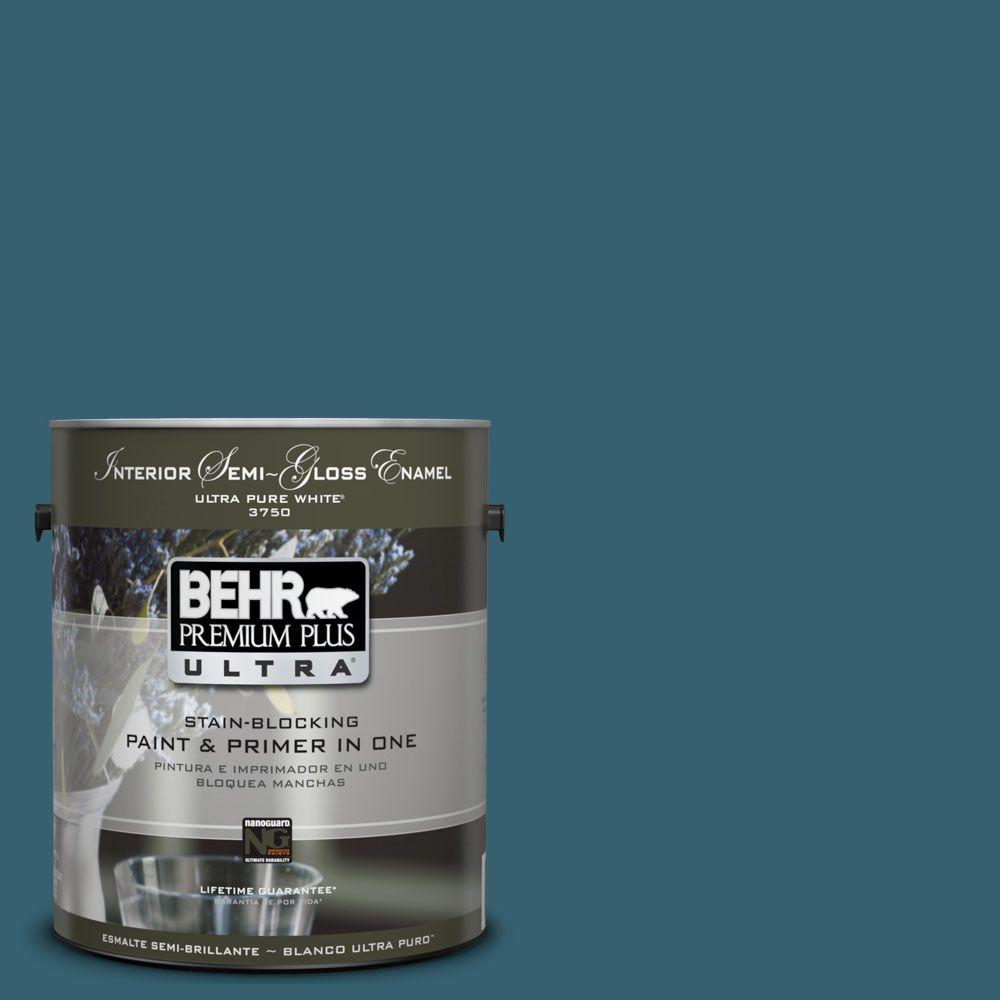 BEHR Premium Plus Ultra 1-gal. #UL230-21 Bermudan Blue Interior Semi-Gloss Enamel Paint