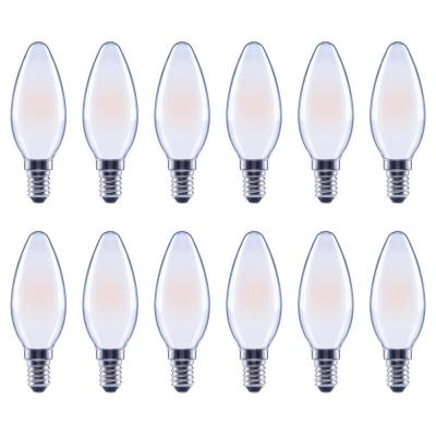 60-Watt Equivalent B11 Dimmable Frosted Glass Filament Vintage Edison LED Light Bulb Soft White (12-Pack)