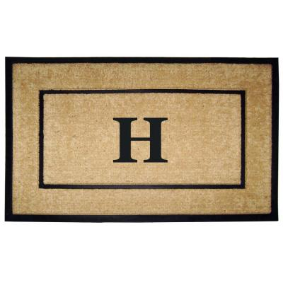 DirtBuster Single Picture Frame Black 30 in. x 48 in. Coir with Rubber Border Monogrammed H Door Mat
