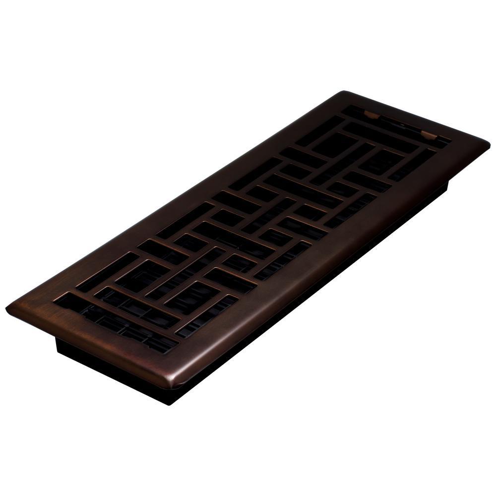 4 in. x 14 in. Oil Rubbed Bronze Steel Oriental Register
