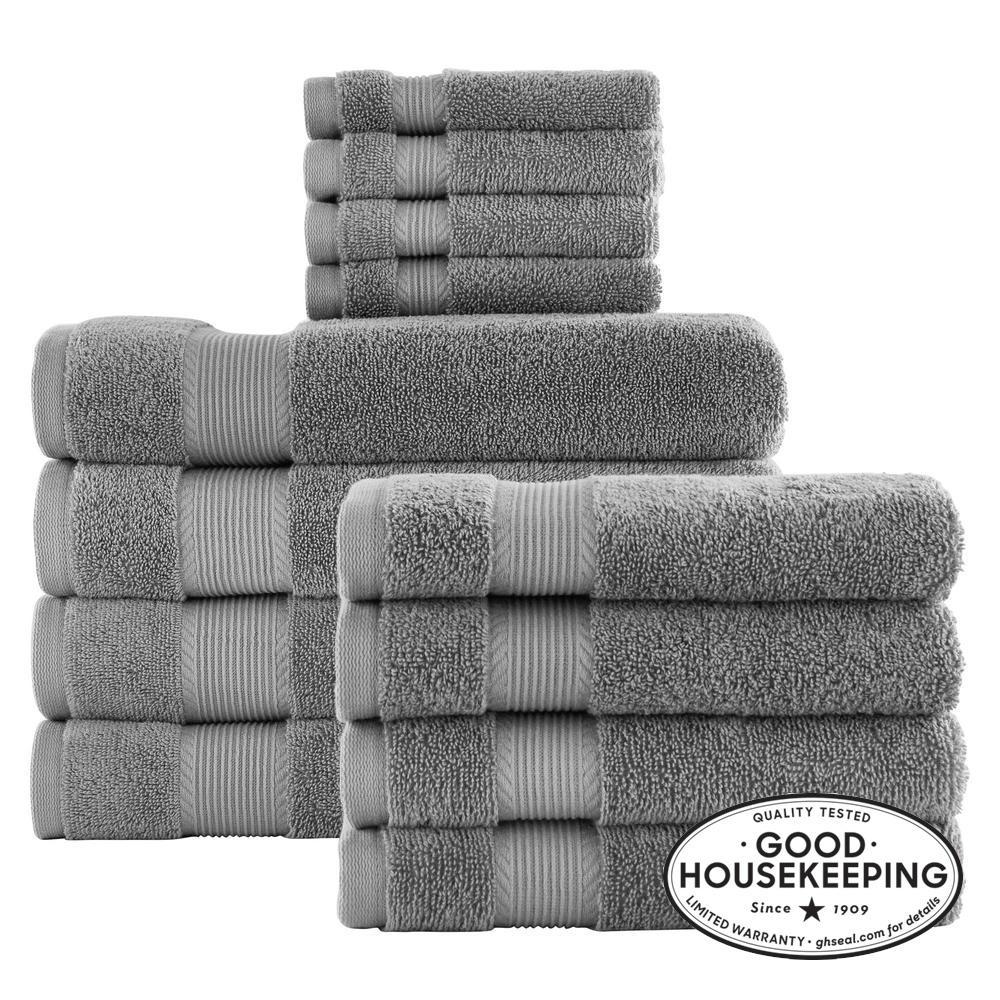 12-Piece Hygrocotton Towel Set in Stone Gray