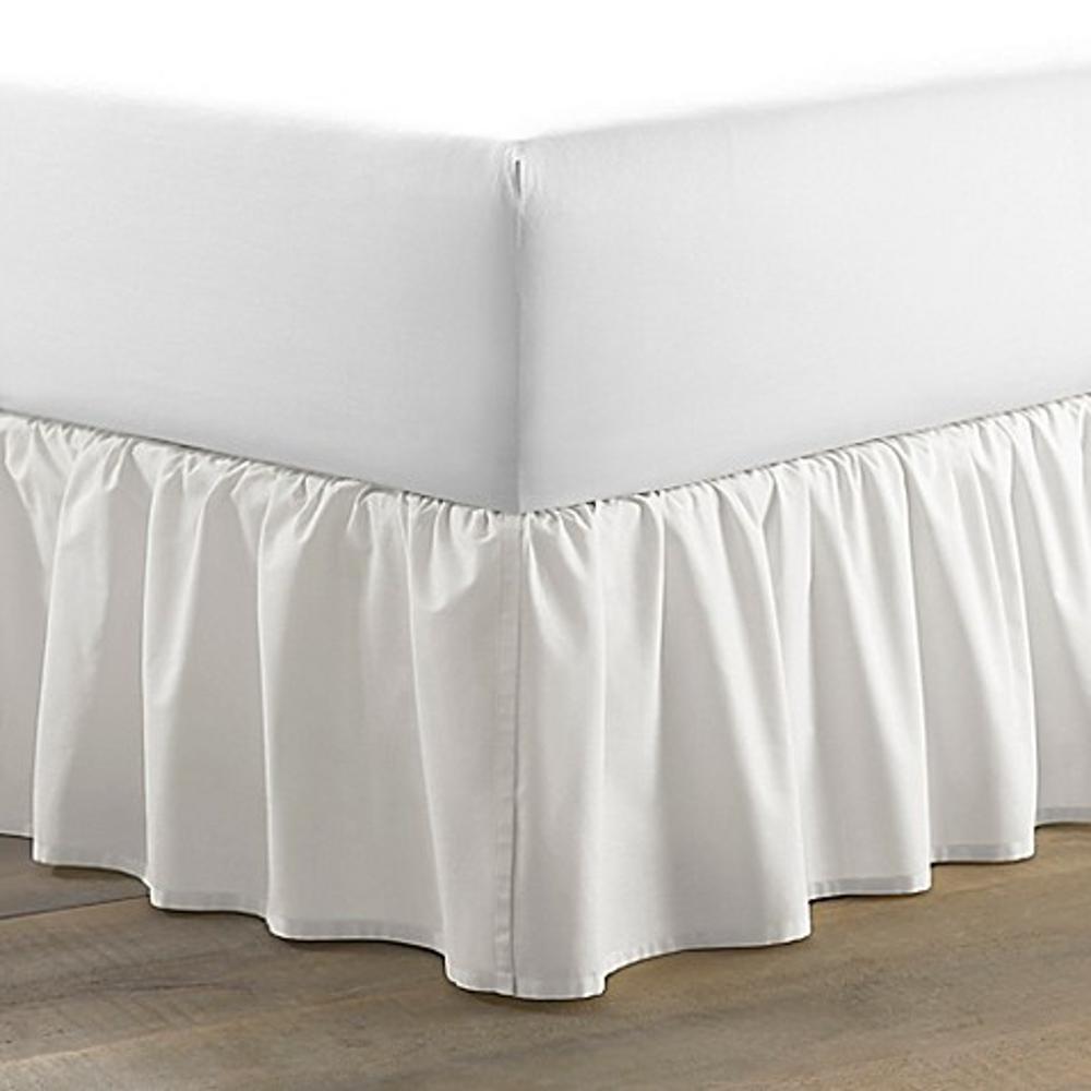 54 in. x 75 in. Solid White Full Ruffled Bed Skirt