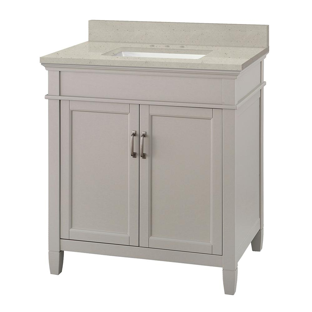 Home Decorators Collection Ashburn 31 in. W x 22 in. D Vanity Cabinet in Grey with Engineered Quartz Vanity Top in Stoneybrook with White Sink